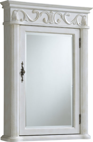 """72"""" Antique White with Matching Medicine Cabinet with Cream Marble Top"""