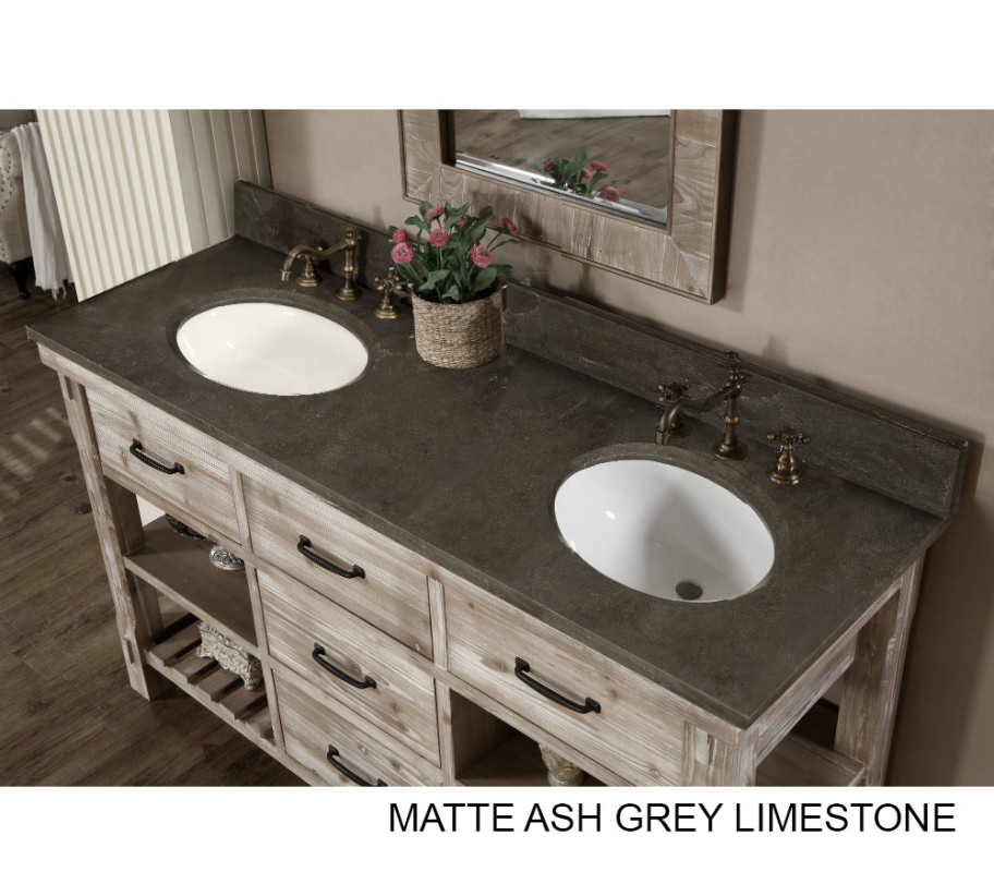 accos 60 inch rustic double sink bathroom vanity marble top rh listvanities com double sink bathroom vanity tops sale 66 double sink bathroom vanity top