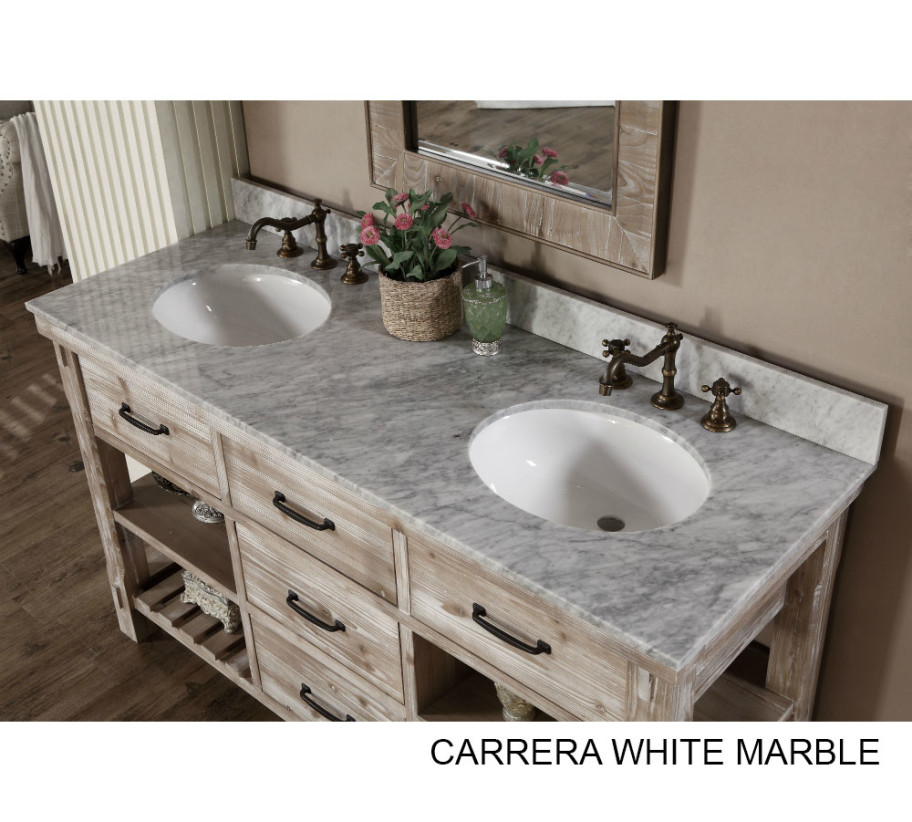 Accos 60 Inch Rustic Double Sink Bathroom Vanity Marble Top