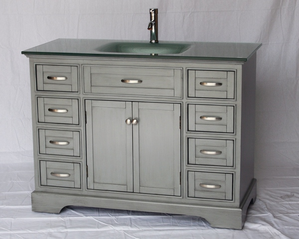 "46"" Adelina Contemporary Style Single Sink Bathroom Vanity in Gray Finish with Tempered Glass Countertop"