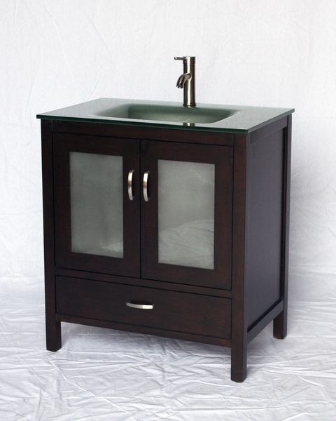 """32"""" Adelina Contemporary Style Single Sink Bathroom Vanity in Espresso Finish with Tempered Glass Countertop"""