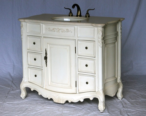 """40"""" Adelina Antique Style Single Sink Bathroom Vanity in Antique White Finish with Beige Stone Countertop and Oval Bone Porcelain Sink"""