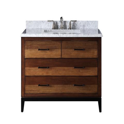 "Adelina 36"" Urban Modern Eclectic Besos Sink Bathroom Vanity with Metal Base"