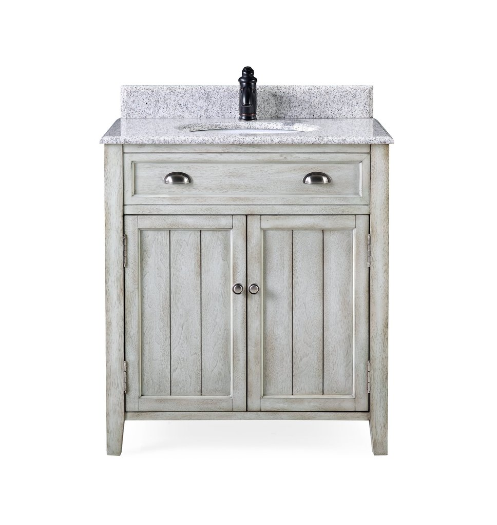 "Adelina 26"" Benedetta Distressed Gray Rustic Bathroom Vanity"