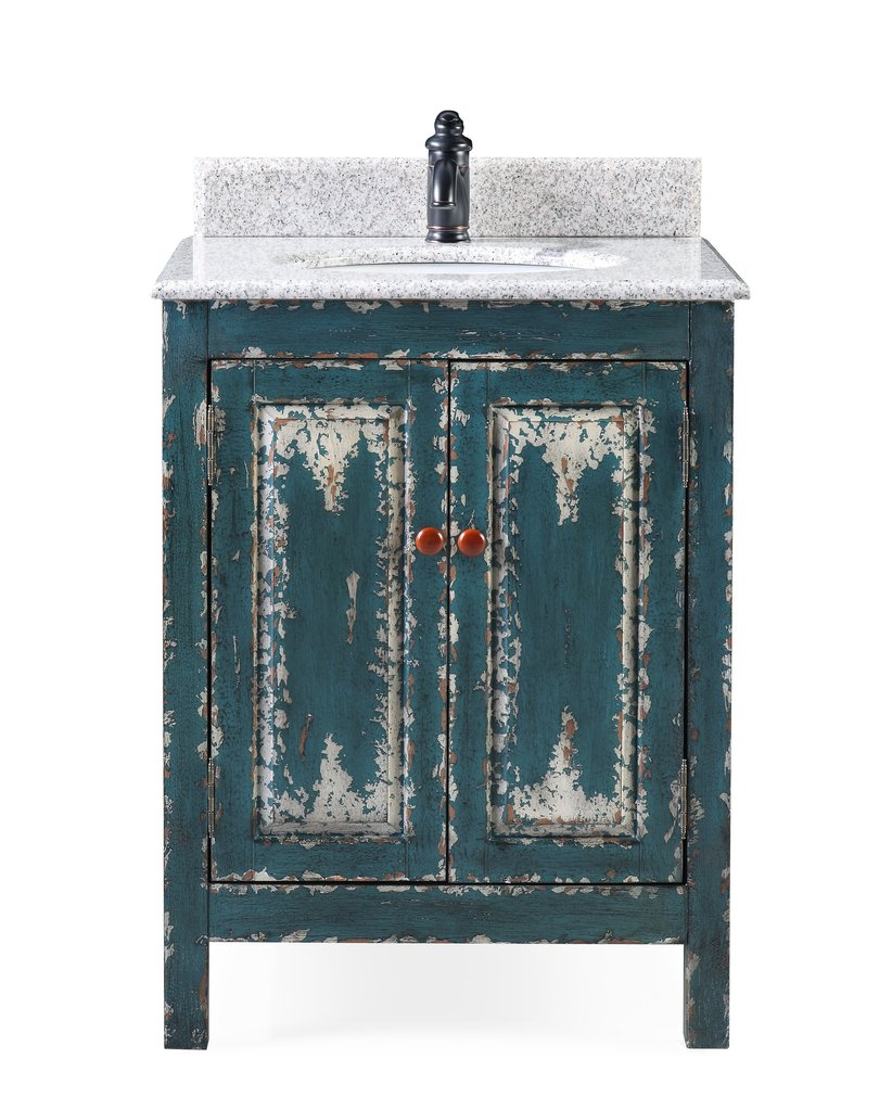 "Adelina 26"" Distressed Green Rustic Bathroom Vanity"
