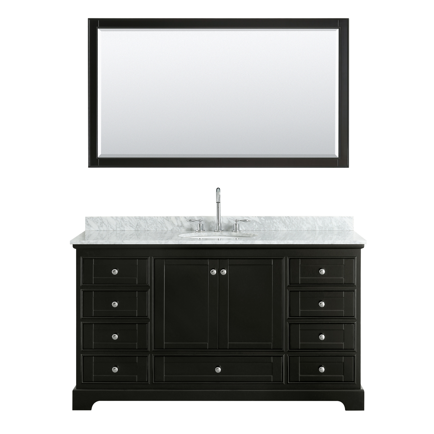 """60"""" Single Bathroom Vanity in White Carrara Marble Countertop with Undermount Porcelain Sink, Medicine Cabinet, Mirror and Color Options"""