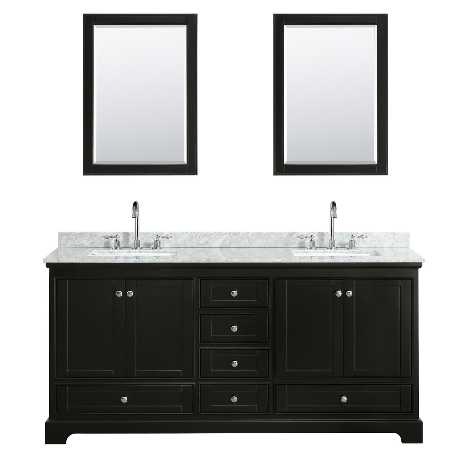 "72"" Double Bathroom Vanity in White Carrara Marble Countertop with Undermount Porcelain Sinks, Medicine Cabinet, Mirror and Color Options"