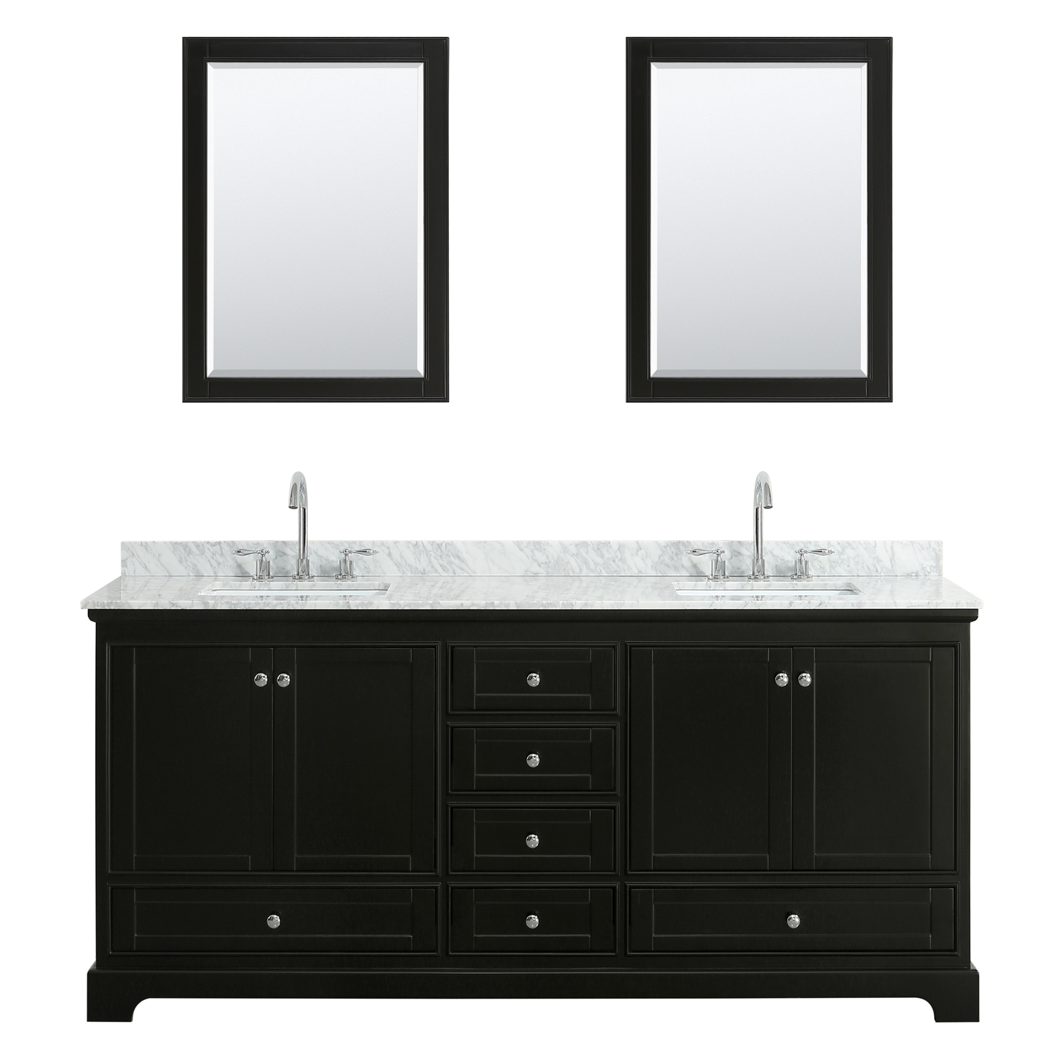 """80"""" Double Bathroom Vanity in White Carrara Marble Countertop with Undermount Porcelain Sinks, Medicine Cabinet, Mirror and Color Options"""