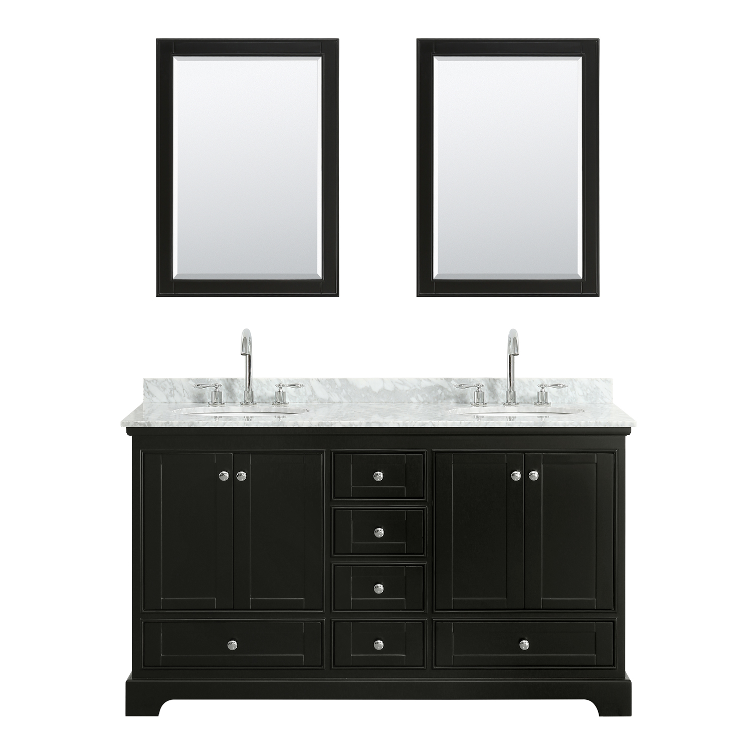 """60"""" Double Bathroom Vanity in White Carrara Marble Countertop with Undermount Porcelain Sinks, Medicine Cabinet, Mirror and Color Options"""