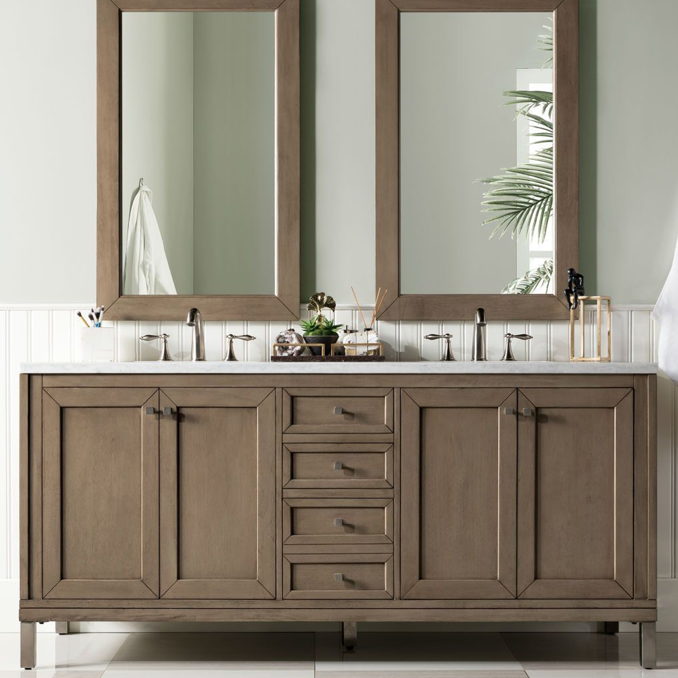 """Chicago 72"""" White Washed Walnut Double Vanity with Top Options"""