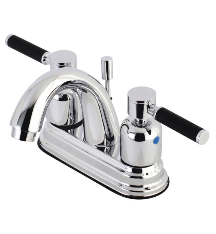"Kaiser 5"" Double Porcelain Rubber - Coated Lever Handle Centerset Bathroom Sink Faucet with Pop-Up Drain"