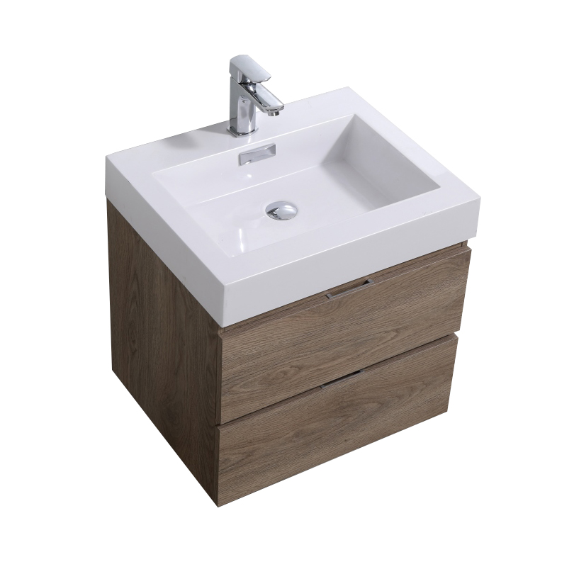 """Modern Lux 24"""" Butternut Wall Mount Modern Bathroom Vanity"""