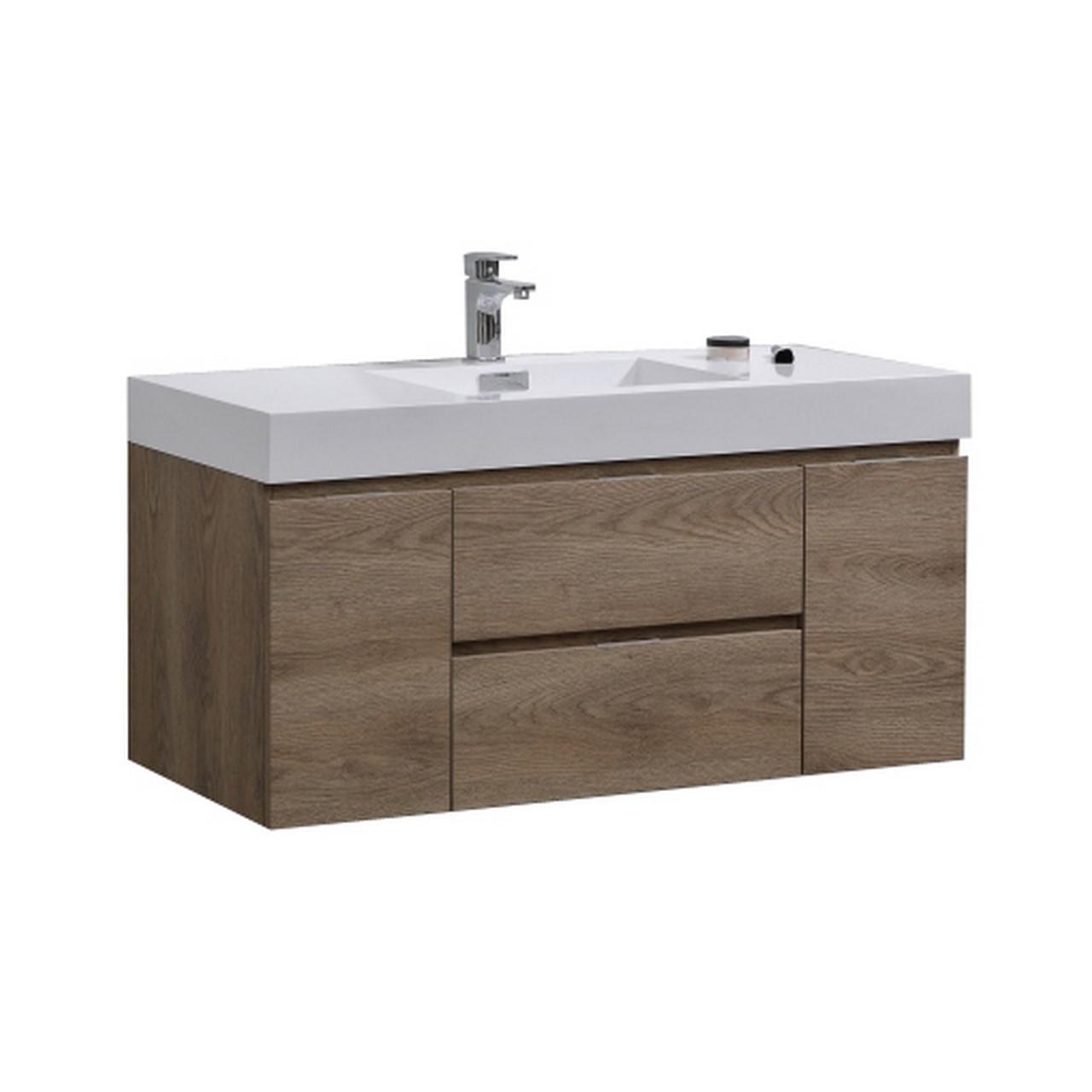 """Modern Lux 48"""" Butternut Wall Mount Modern Bathroom Vanity"""