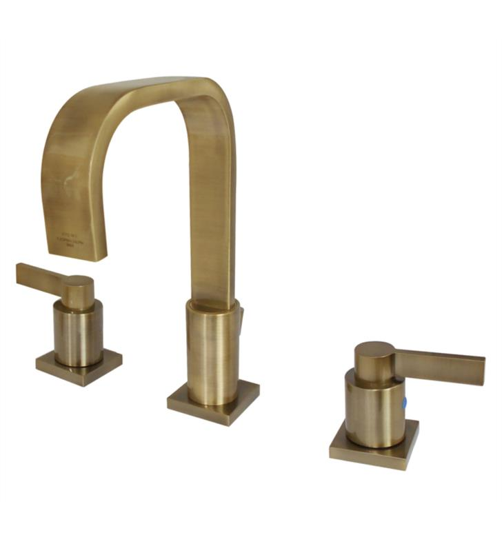 """NuvoFusion 9"""" Double Flat Metal Lever Handle Widespread Bathroom Sink Faucet with Pop-Up Drain in Antique Brass"""