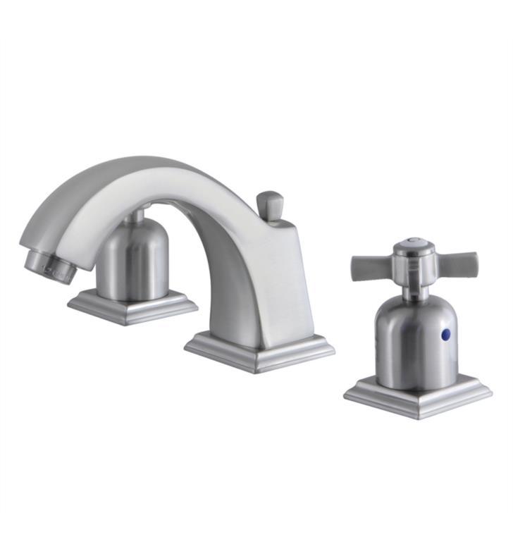 "Millennium 4 3/8"" Double Metal Cross Handle Widespread Bathroom Sink Faucet with Pop-Up Drain in Brushed Nickel"