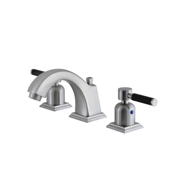 """Kaiser 4 3/8"""" Double Porcelain Rubber - Coated Lever Handle Widespread Bathroom Sink Faucet with Pop-Up Drain in Brushed Nickel"""