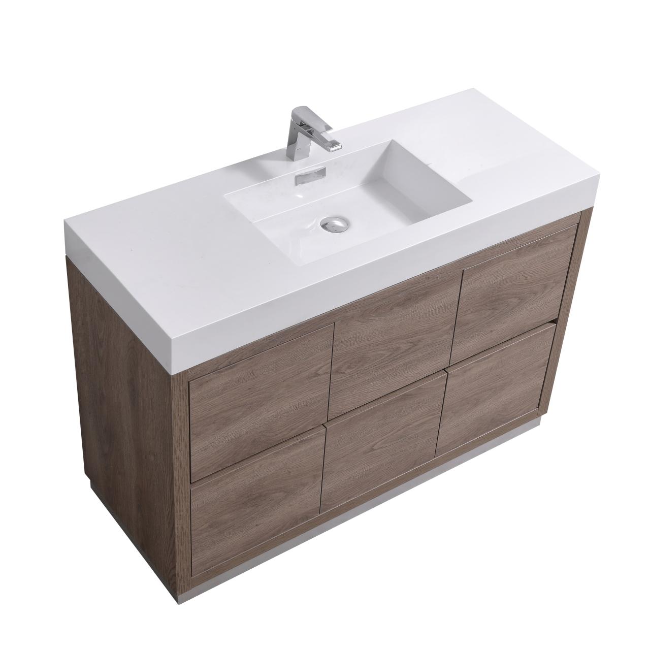 "Modern Lux 48"" Butternut Free Standing Modern Bathroom Vanity"