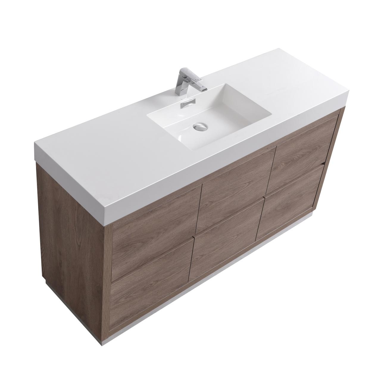 "Modern Lux 60"" Single Sink Butternut  Free Standing Modern Bathroom Vanity"