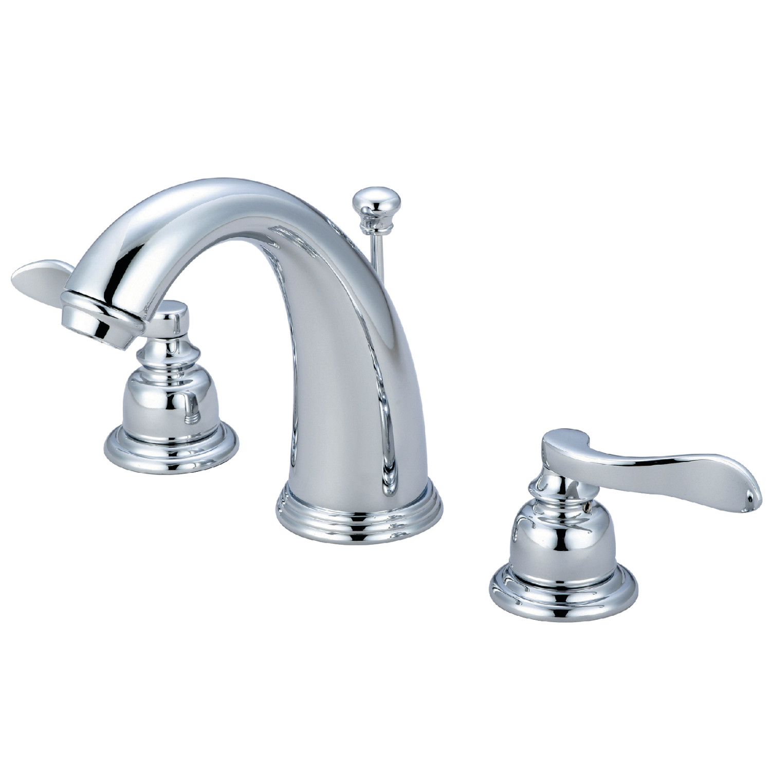 Modern Dual Lever Two-Handle 3-Hole Deck Mounted Widespread Bathroom Faucet with Plastic Pop-Up in Polished Chrome