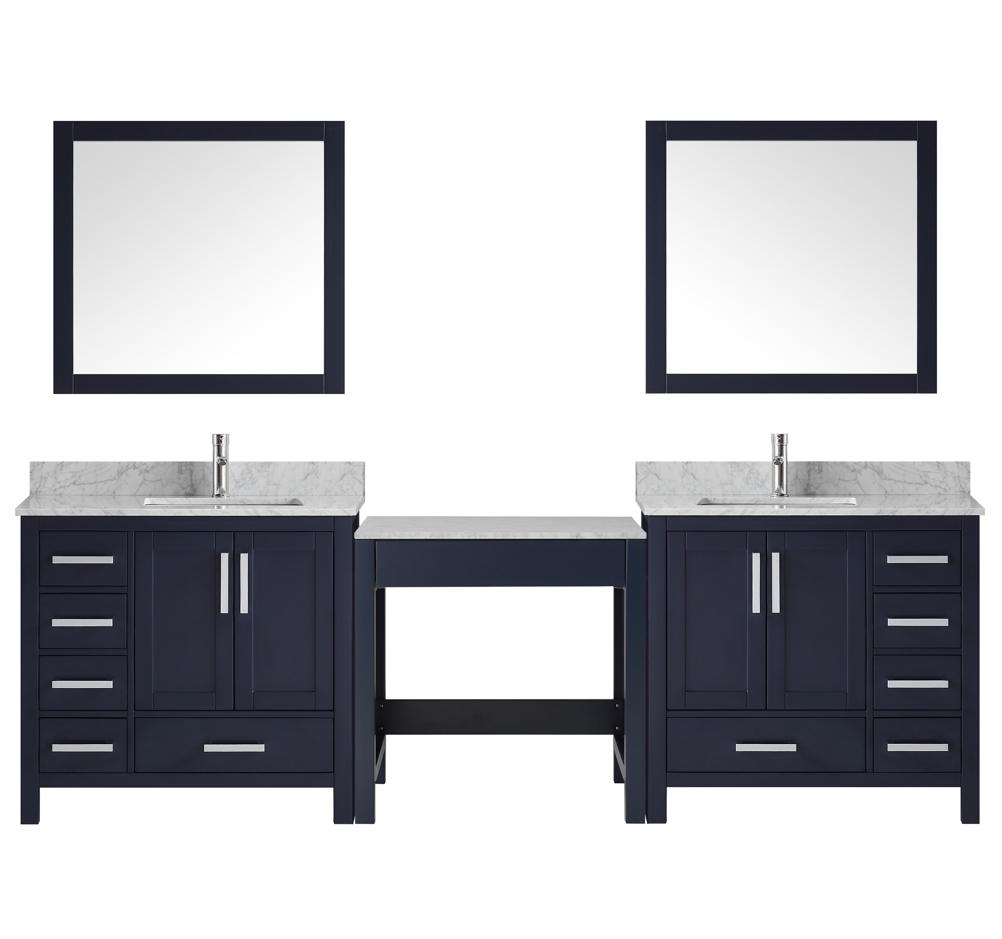 """102"""" Navy Blue Double Vanity w/ Make-up Table, White Carrara Marble Top, White Square Sink and 34"""" Mirror"""