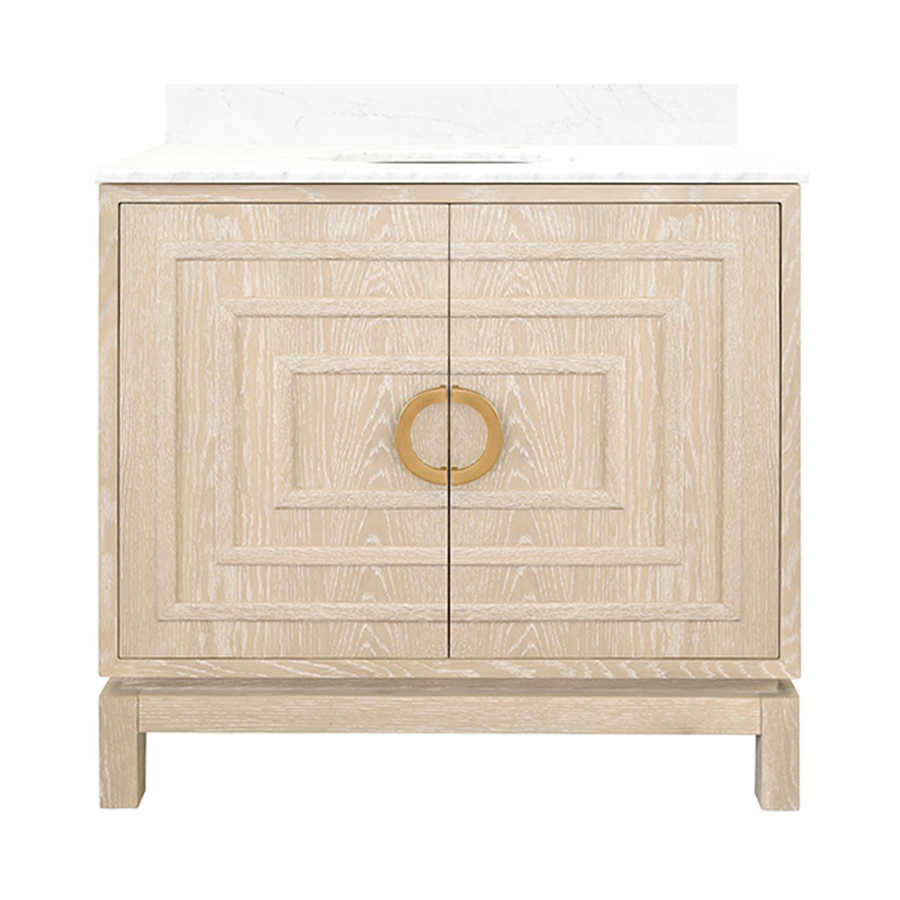 """36"""" Issac Edwards Collection Bath Vanity in Matte Cerused Oak Finsih with White Marble Top and Porcelain Sink"""