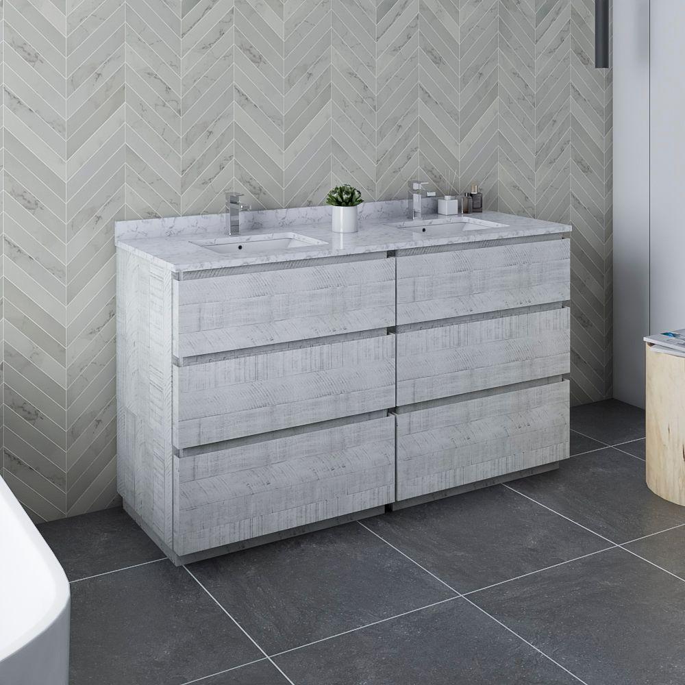 "60"" Floor Standing Double Sink Modern Bathroom Cabinet w/ Top & Sinks in Rustic White"