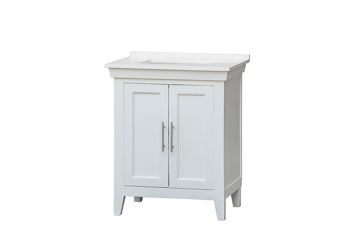 """30"""" Single Sink Bathroom Vanity Distressed White Finish with White Quartz Counter Top with Subtle Grey Veining"""