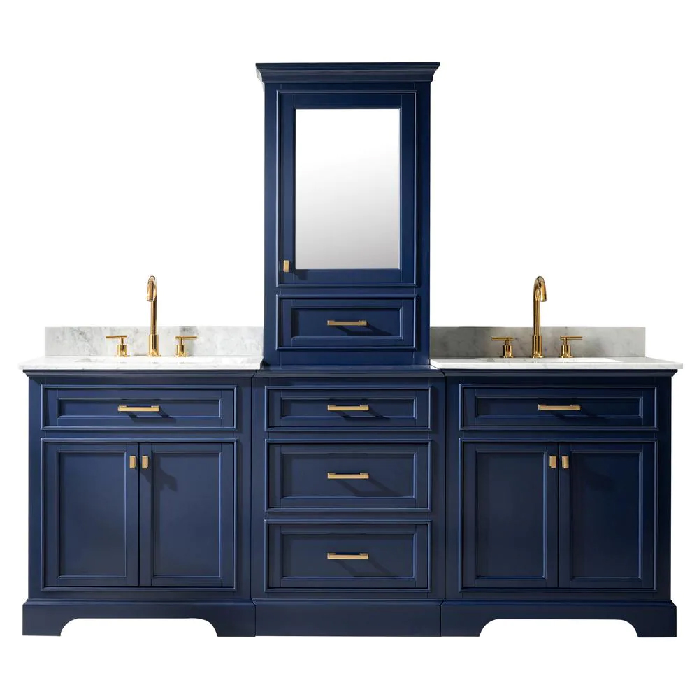 """96"""" Bath Vanity in Blue with Carrara Marble Vanity Top in White with White Basin"""