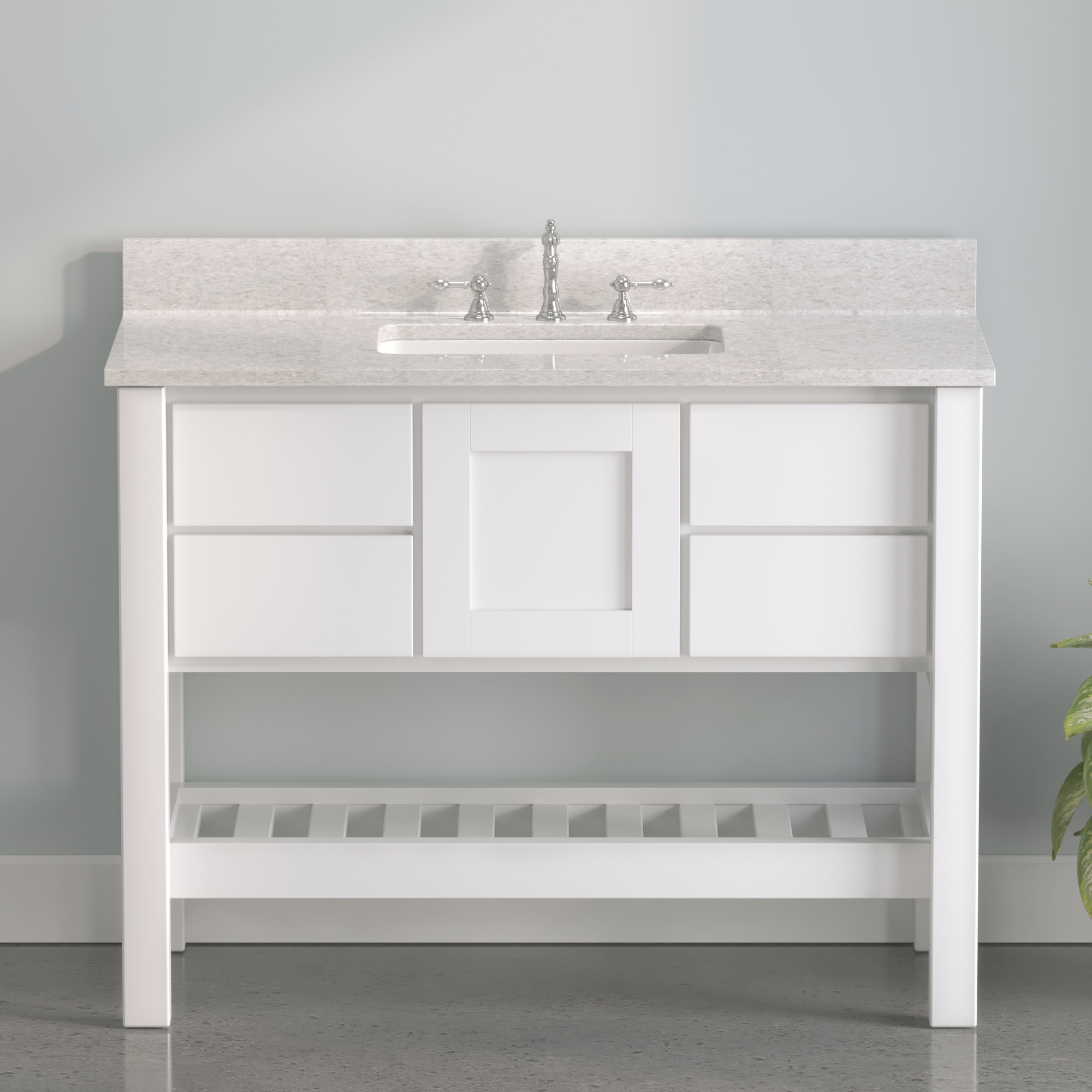 """Made in USA, 48"""" White Solid Wood and Basin Sink Vanity with Countertop Options"""