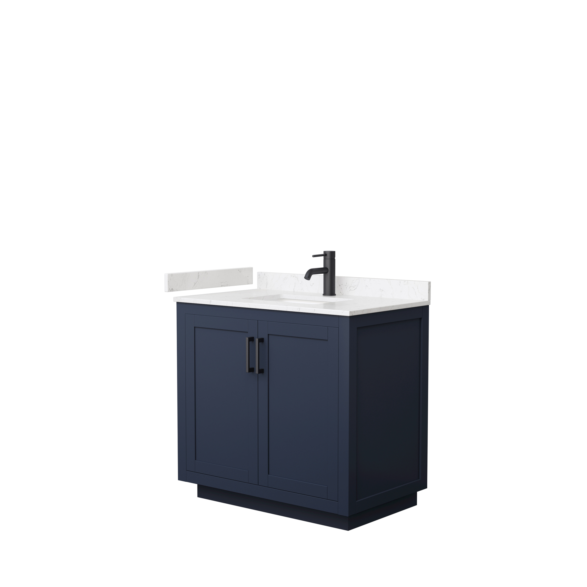 "36"" Single Bathroom Vanity in Dark Blue, Light-Vein Carrara Cultured Marble Countertop, Undermount Square Sink, Matte Black Trim"