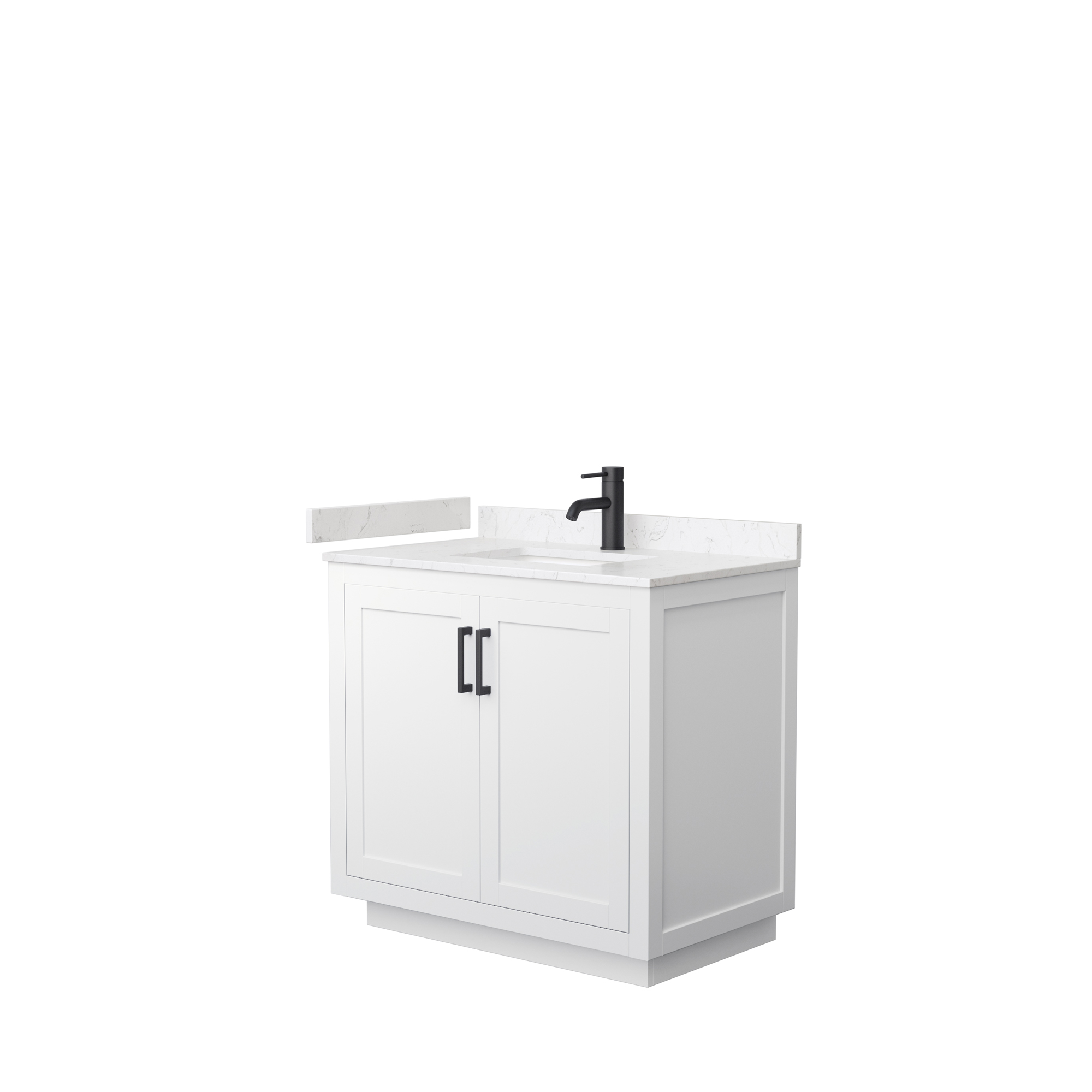 "36"" Single Bathroom Vanity in White, Light-Vein Carrara Cultured Marble Countertop, Undermount Square Sink, Matte Black Trim"