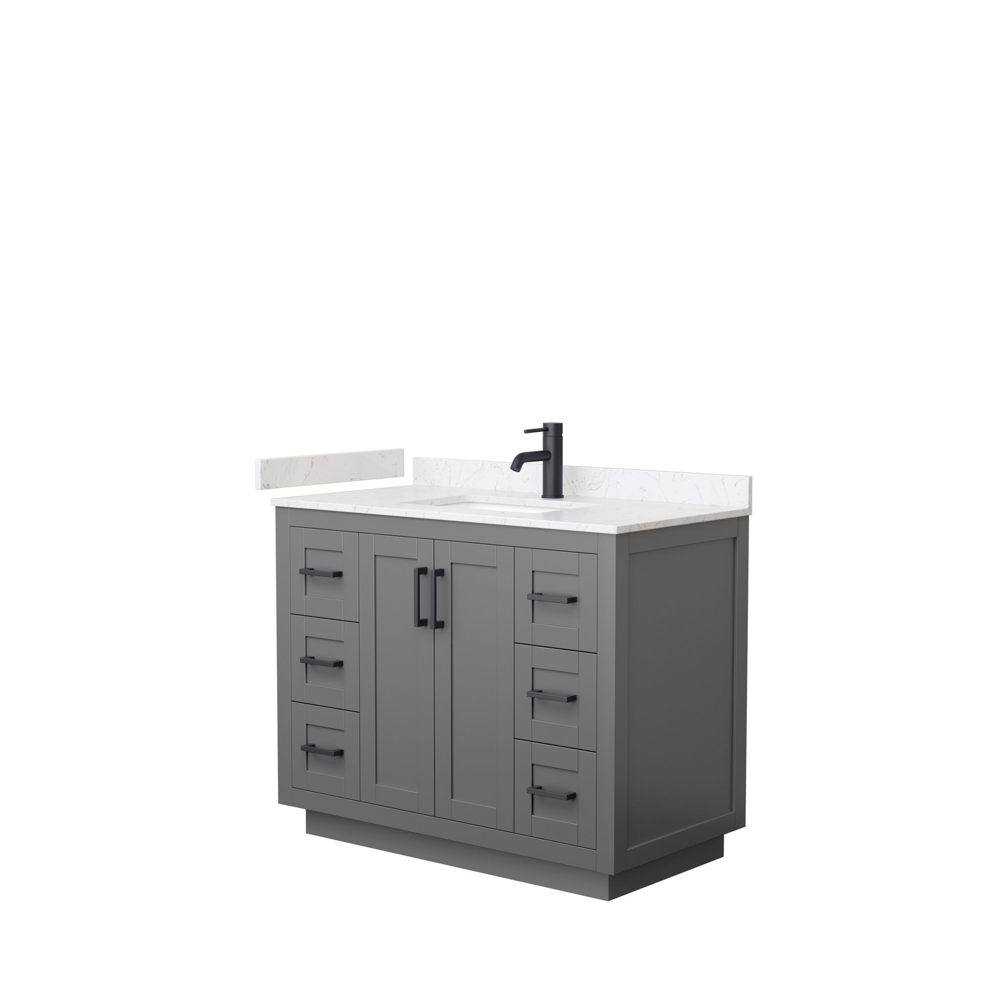 "42"" Single Bathroom Vanity in Dark Gray, Light-Vein Carrara Cultured Marble Countertop, Undermount Square Sink, Matte Black Trim"