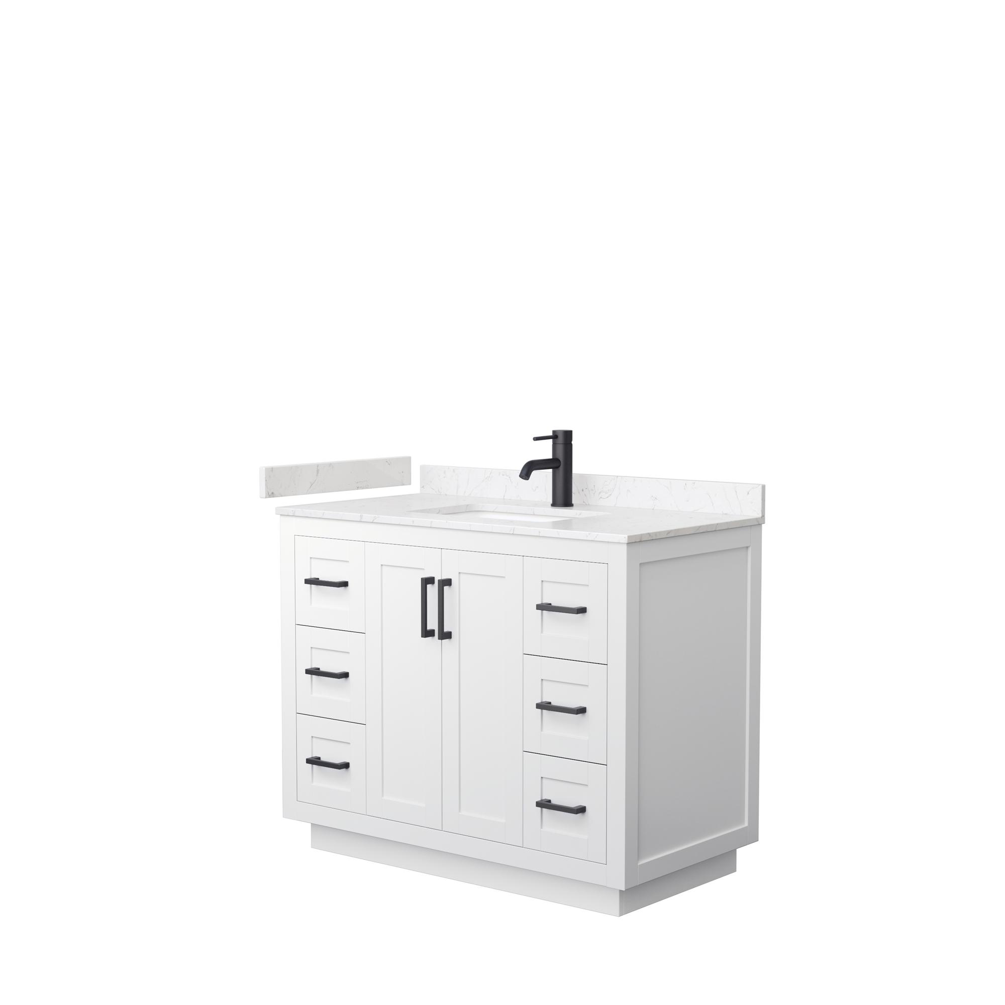 "42"" Single Bathroom Vanity in White, Light-Vein Carrara Cultured Marble Countertop, Undermount Square Sink, Matte Black Trim"