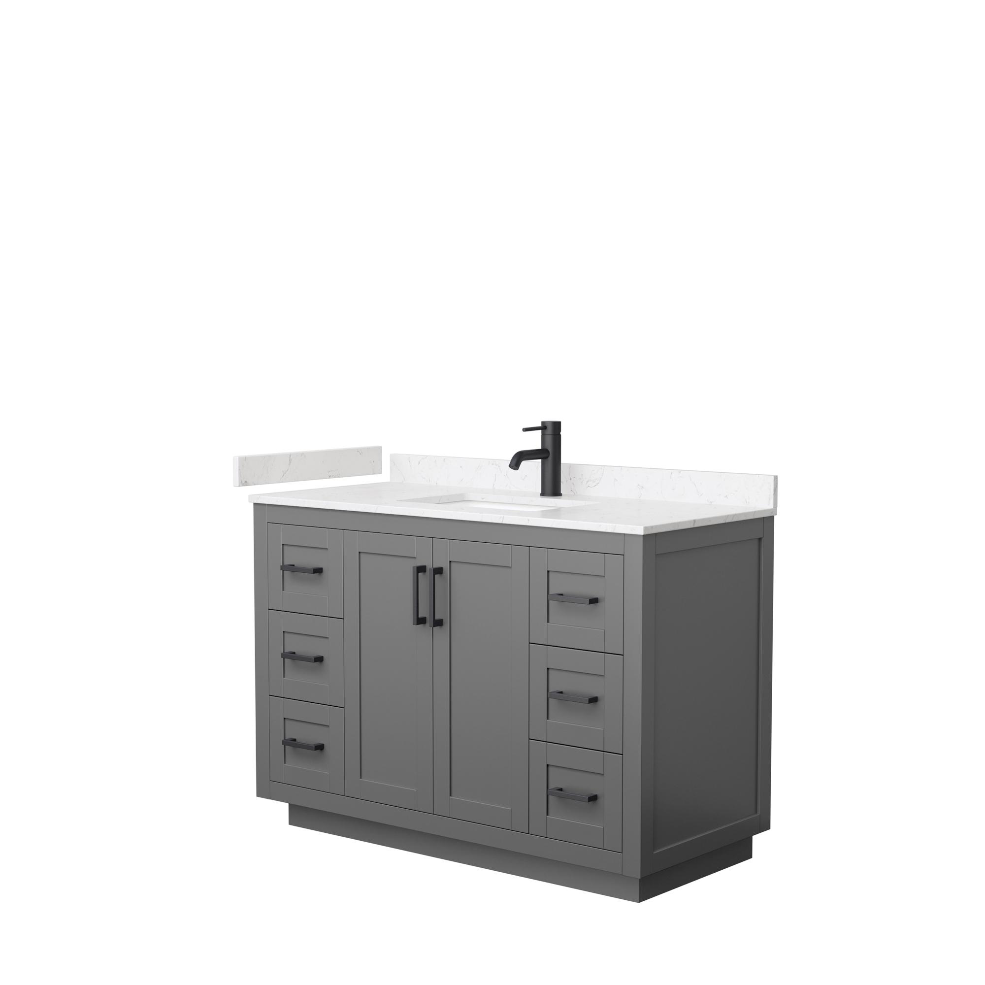 "48"" Single Bathroom Vanity in Dark Gray, Light-Vein Carrara Cultured Marble Countertop, Undermount Square Sink, Matte Black Trim"