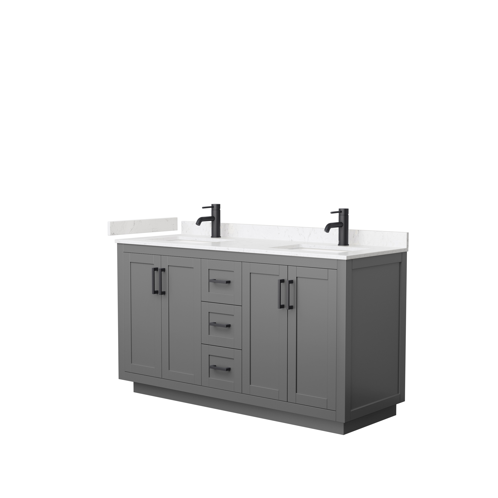 "60"" Double Bathroom Vanity in Dark Gray, Light-Vein Carrara Cultured Marble Countertop, Undermount Square Sinks, Matte Black Trim"