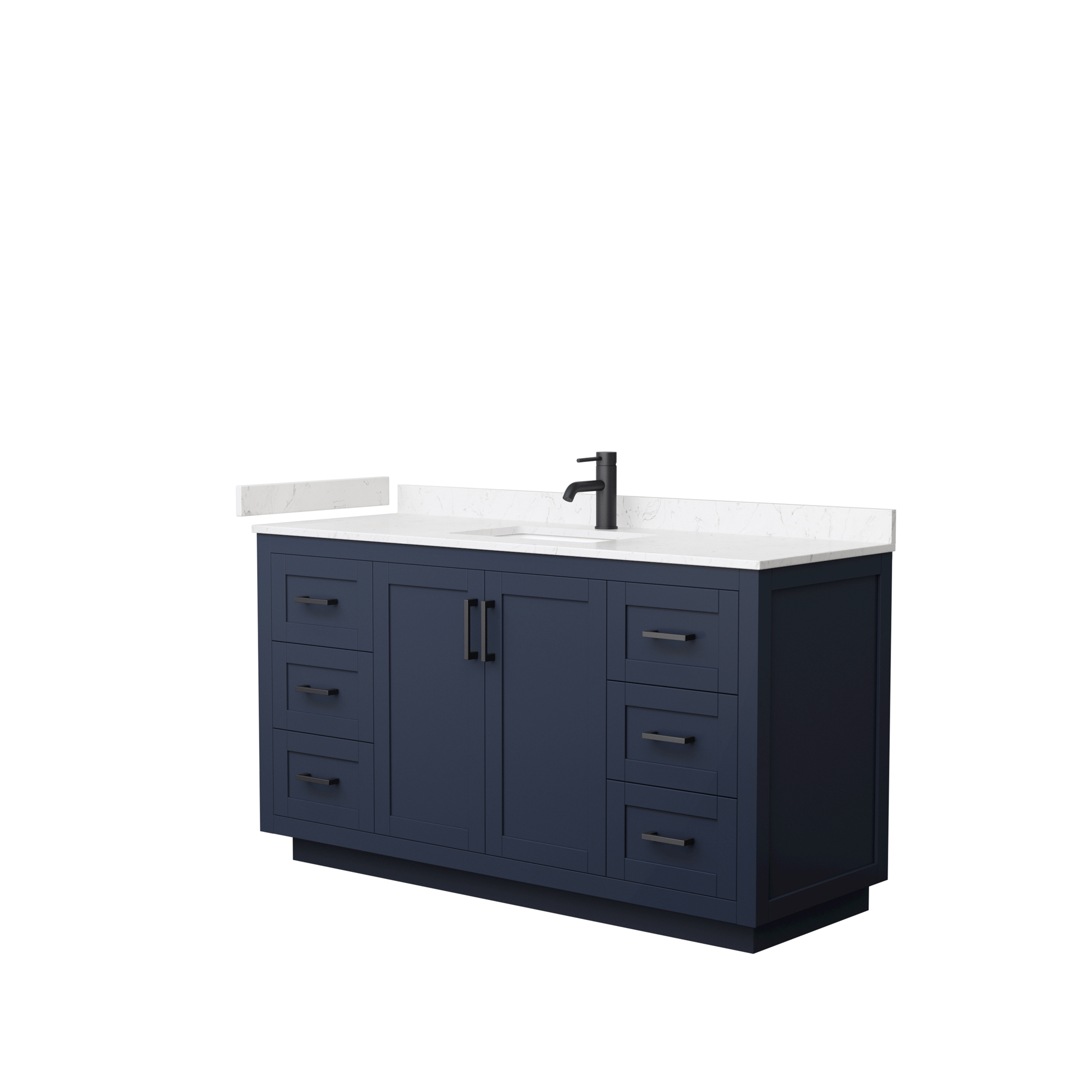 "60"" Single Bathroom Vanity in Dark Blue, Light-Vein Carrara Cultured Marble Countertop, Undermount Square Sink, Matte Black Trim"