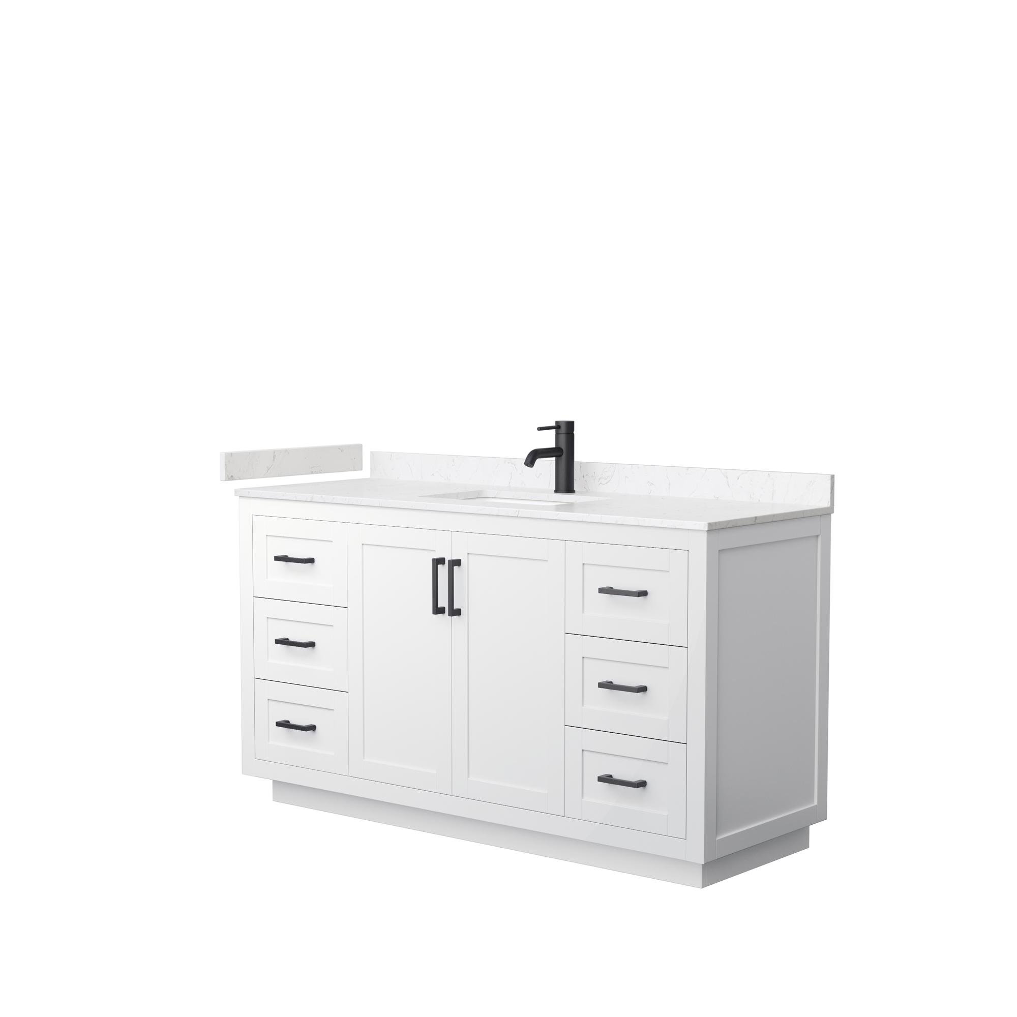 "60"" Single Bathroom Vanity in White, Light-Vein Carrara Cultured Marble Countertop, Undermount Square Sink, Matte Black Trim"