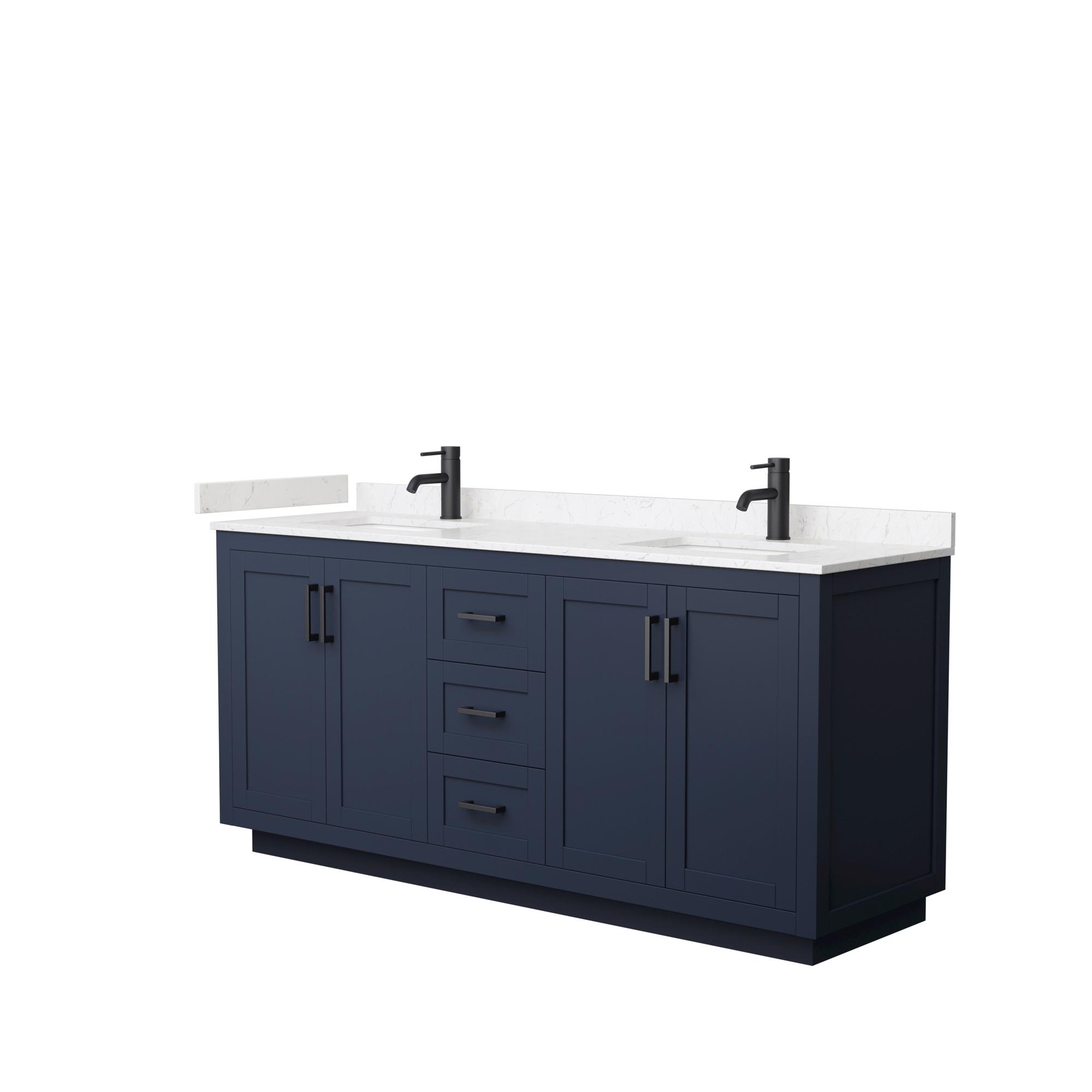 "72"" Double Bathroom Vanity in Dark Blue, Light-Vein Carrara Cultured Marble Countertop, Undermount Square Sinks, Matte Black Trim"