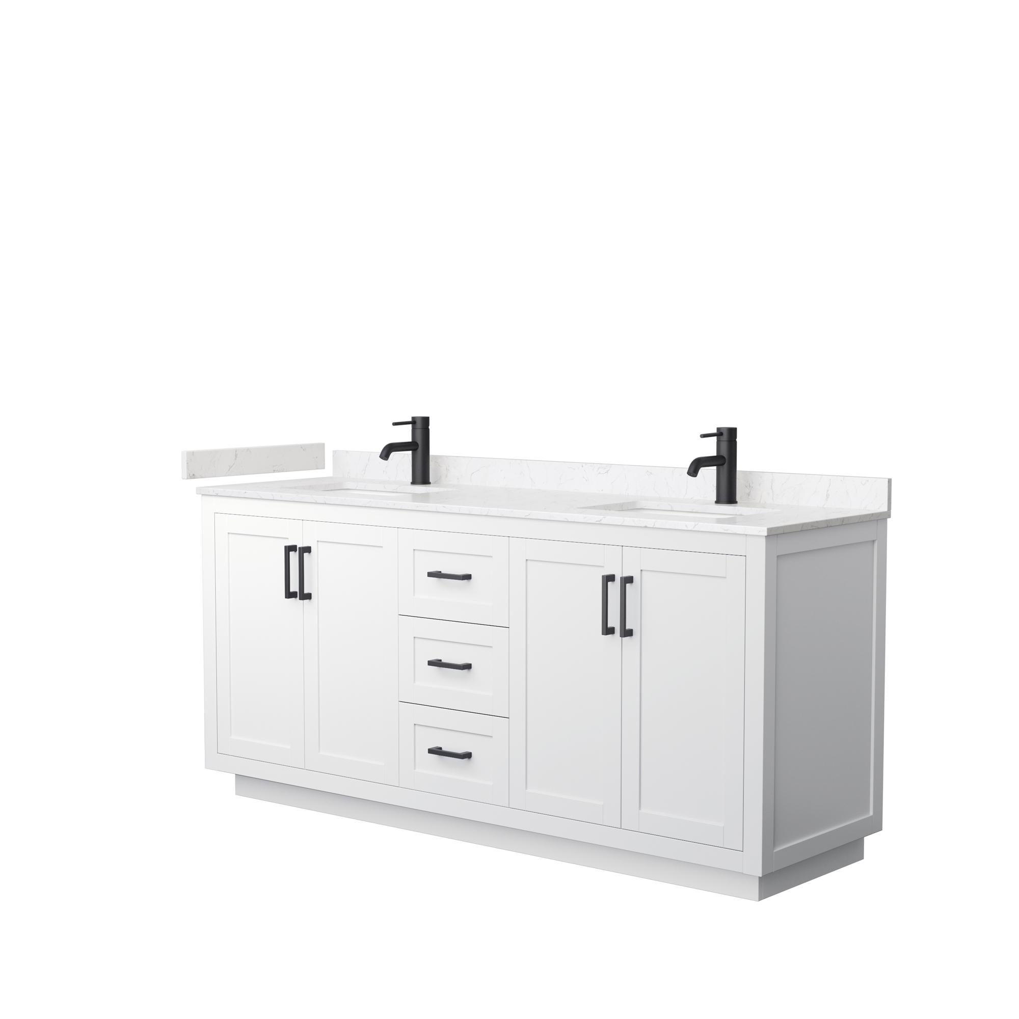"72"" Double Bathroom Vanity in White, Light-Vein Carrara Cultured Marble Countertop, Undermount Square Sinks, Matte Black Trim"