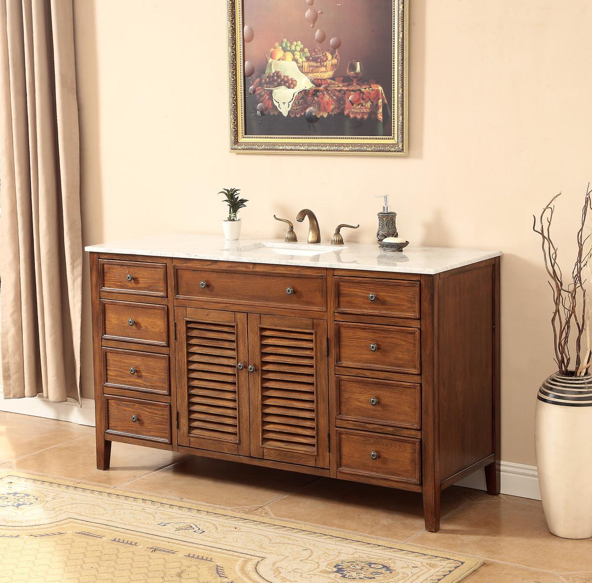 "58"" Adelina Cottage Style Single Sink Bathroom Vanity Walnut Finish with White Italian Carrara Marble Countertop and Rectangular White Porcelain Sink"