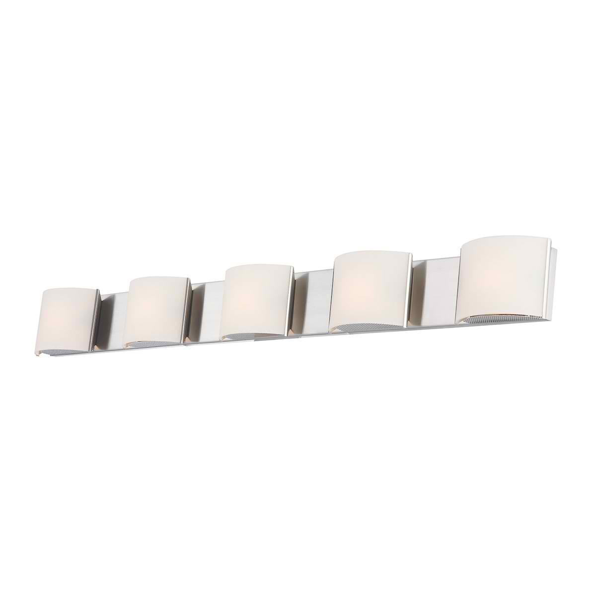 Pandora 5-Light Bath and Vanity with White Opal Glass and Chrome Finish