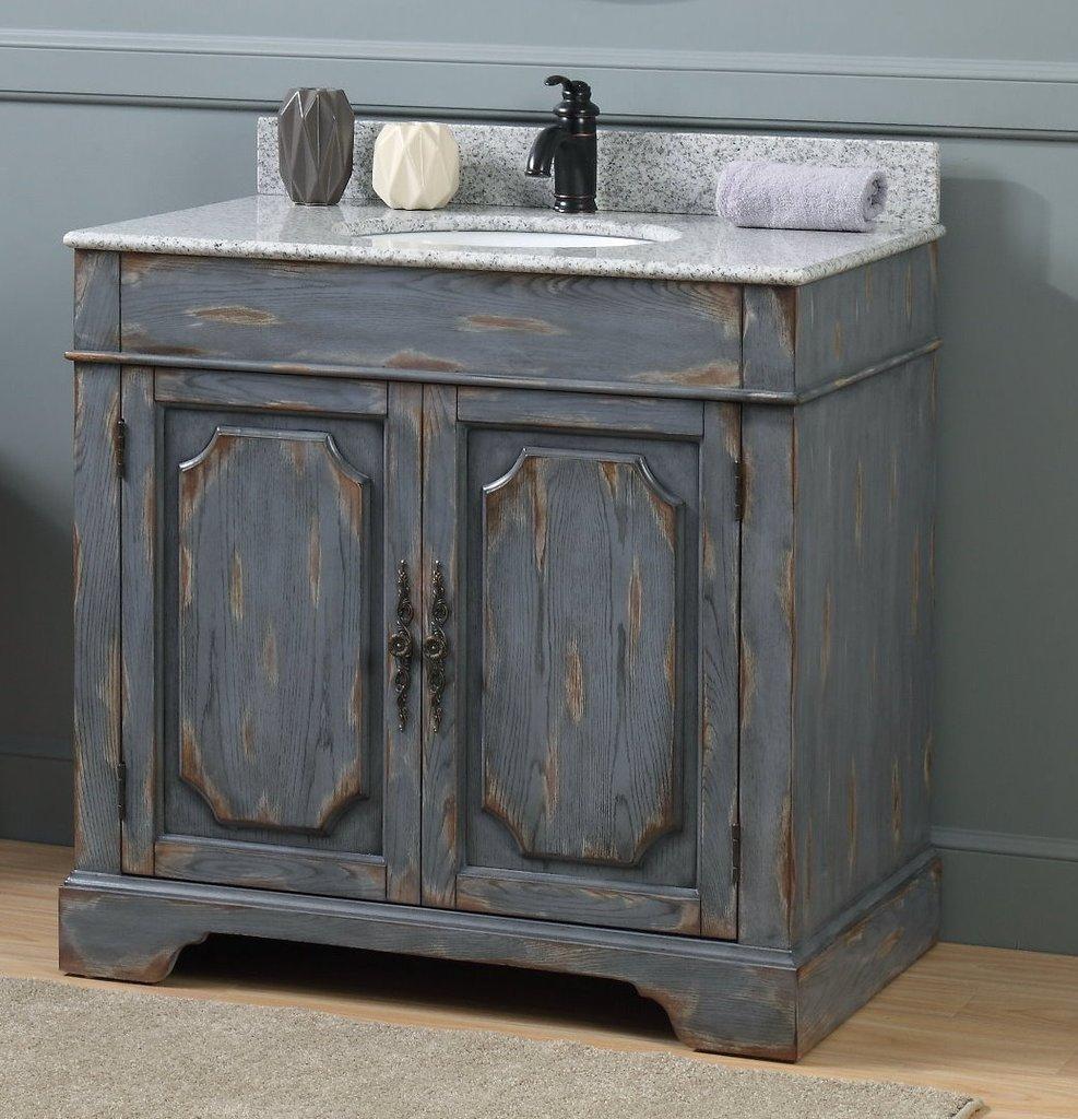 Adelina 36 Benton Collection Litchfield Rustic Gray Distressed Boho Bathroom Vanity