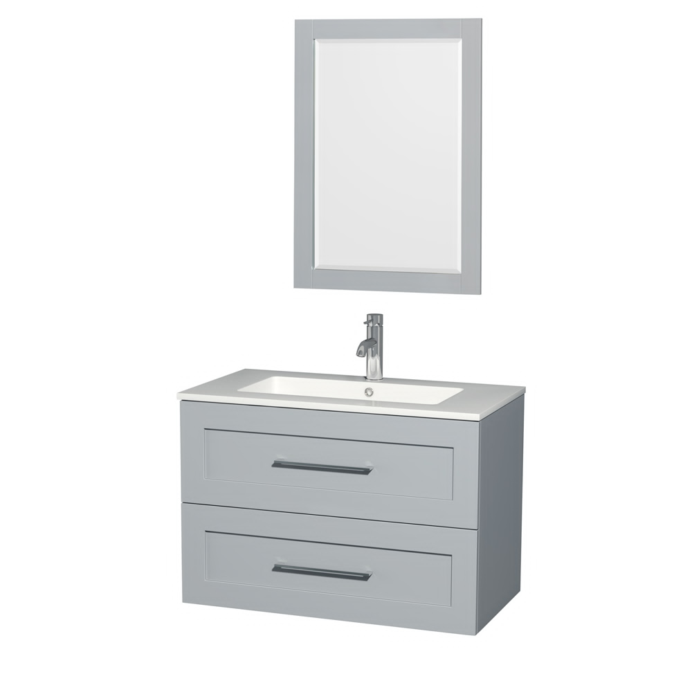 "36"" Wall-Mounted Single Bathroom Vanity in Acrylic Resin Countertop, Integrated Sink, 24 inch Mirror and Color Options"
