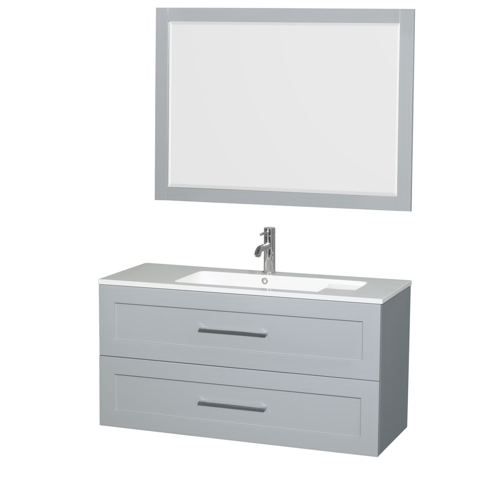 "48"" Wall-Mounted Single Bathroom Vanity in Acrylic Resin Countertop, Integrated Sink, 46"" Mirror and Color Options"