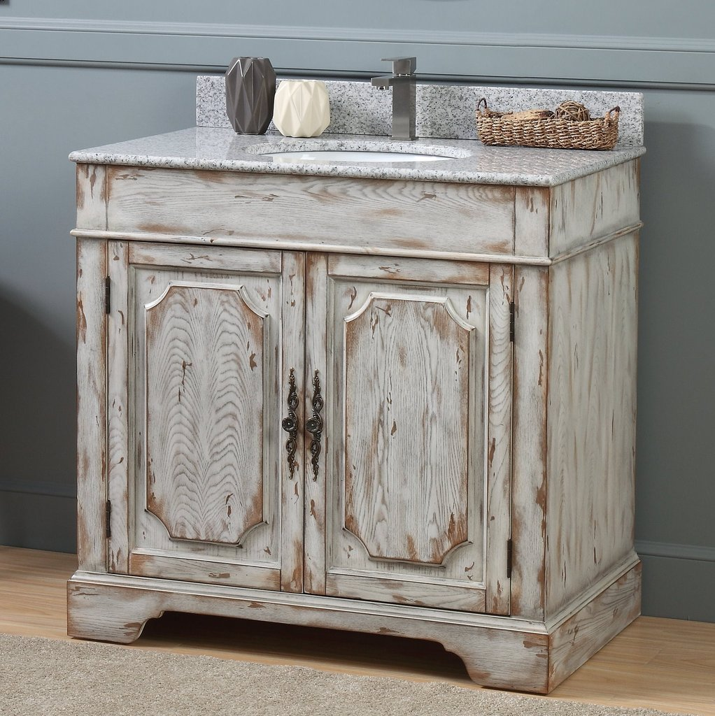 "Adelina 36"" Distressed Off White Rustic Style Bathroom Vanity"