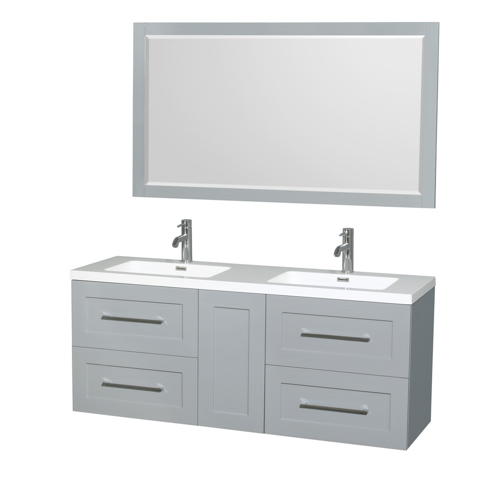 """60"""" Wall-Mounted Double Bathroom Vanity in Acrylic Resin Countertop, Integrated Sinks, Mirror and Color Options"""