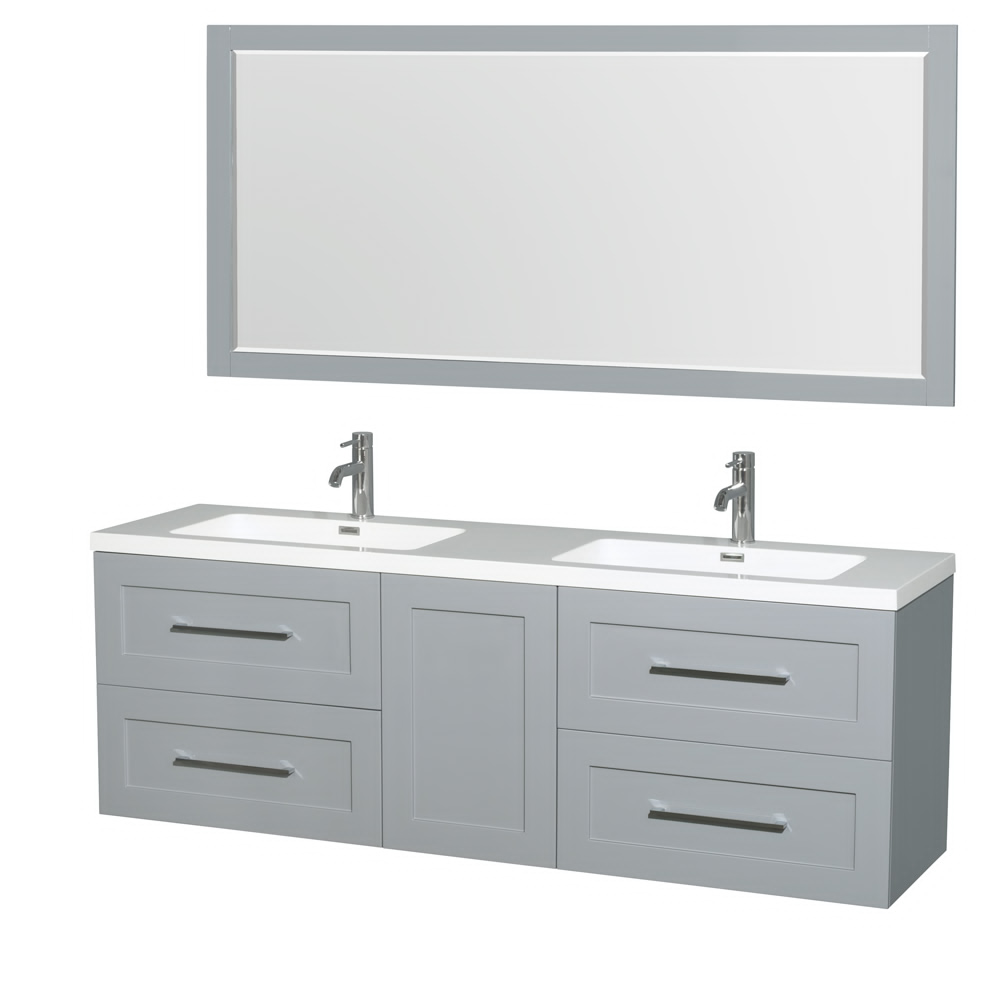 """72"""" Wall-Mounted Double Bathroom Vanity in Acrylic Resin Countertop, Integrated Sinks, Mirror and Color Options"""