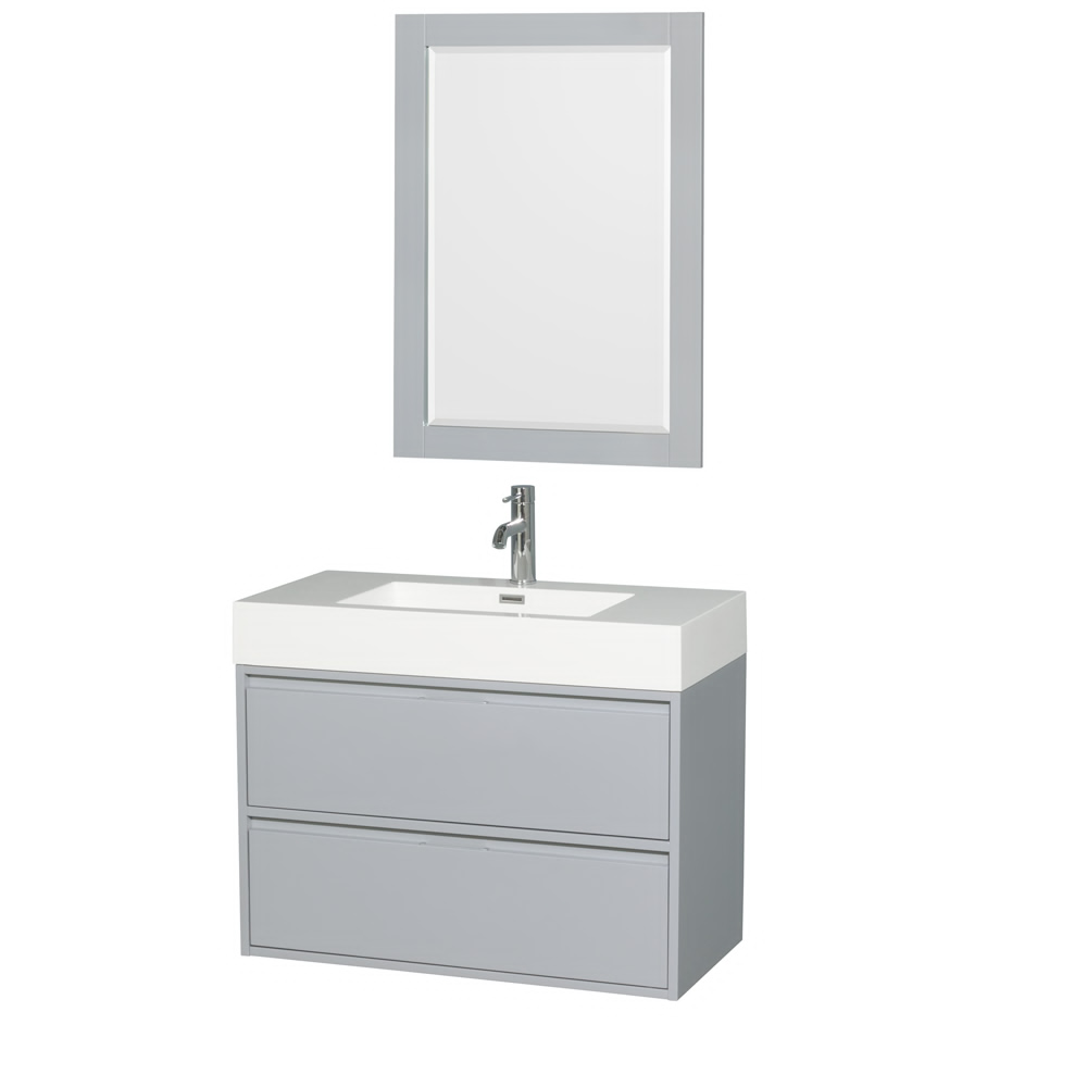 "36"" Single Bathroom Vanity in Acrylic Resin Countertop, Integrated Sink, and 24"" Mirror with Color Options"