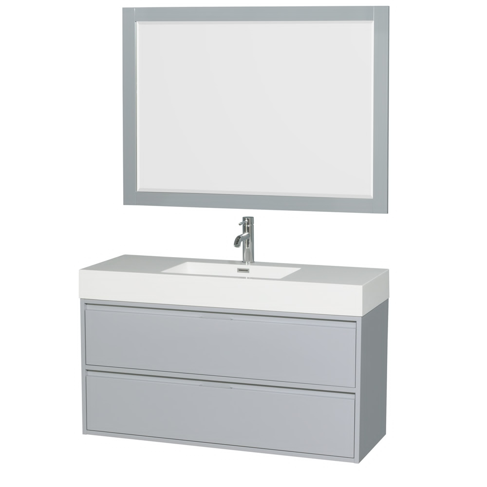 "48"" Single Bathroom Vanity in Acrylic Resin Countertop, Integrated Sink, and 46"" Mirror with Color Options"