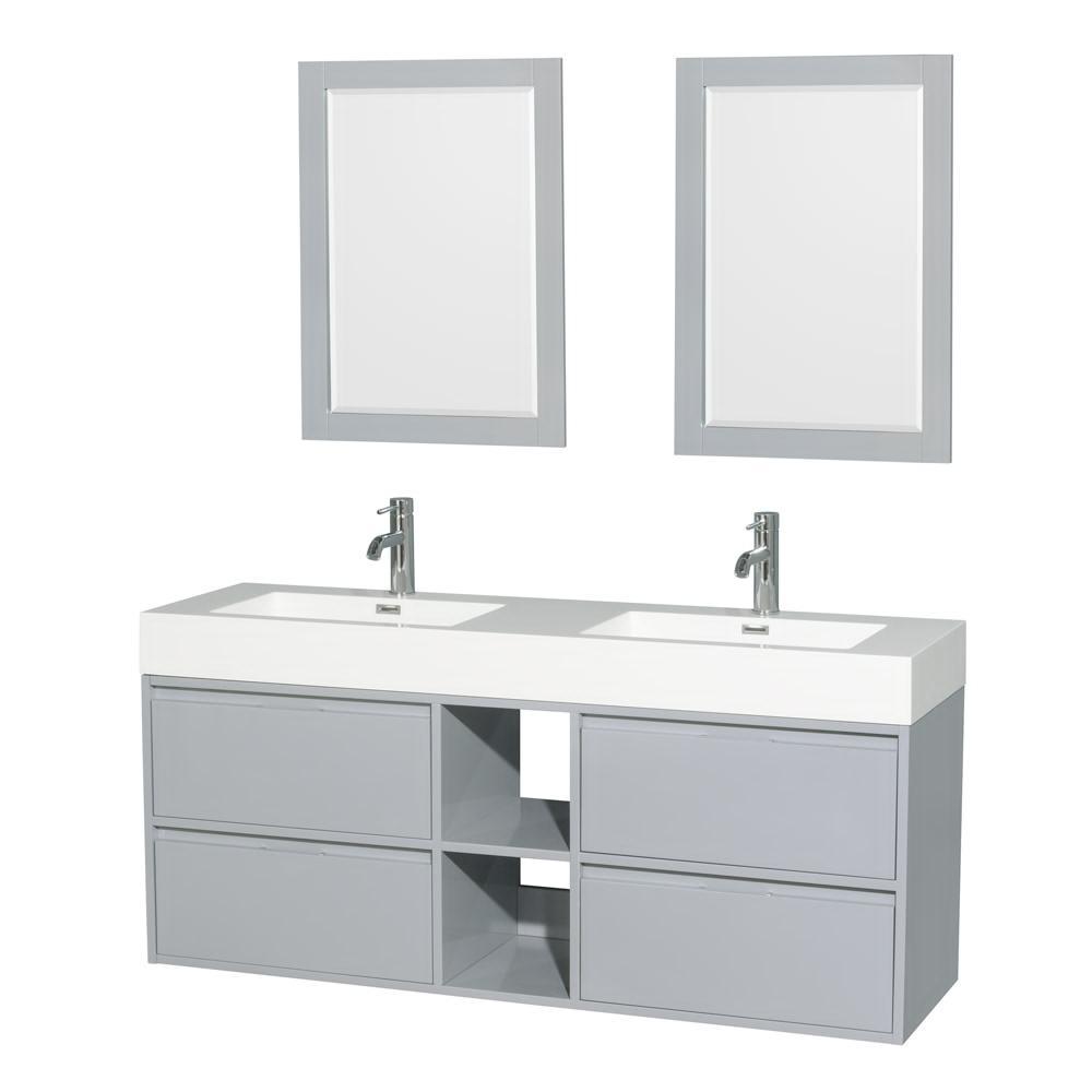 """60"""" Double Bathroom Vanity in Acrylic Resin Countertop, Integrated Sink with Mirror and Color Options"""